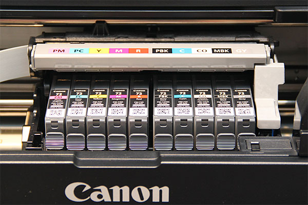 The Pixma Pro-10 uses a 10-ink pigment-based system (pictured here), while the Pro-100 uses an 8-ink dye-based system. All the cartridges have their own slots, so there's no need to swap inks if you want to switch from a glossy to a matte media (or vice versa).