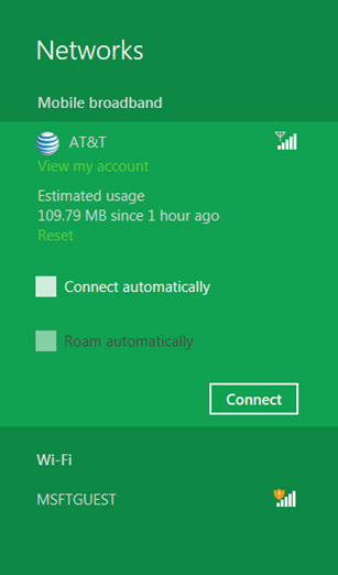 In this example, the Windows 8 user has an AT&T plan and the connection manager of Windows 8 can provide some useful information on data usage and length of time of connection. (Image Source: Microsoft)