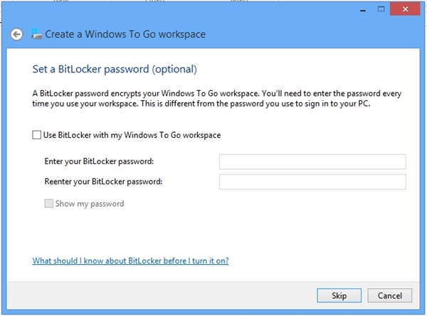 You can choose to encrypt your Windows 8 workspace with the BitLocker tool for a more secure computing environment.