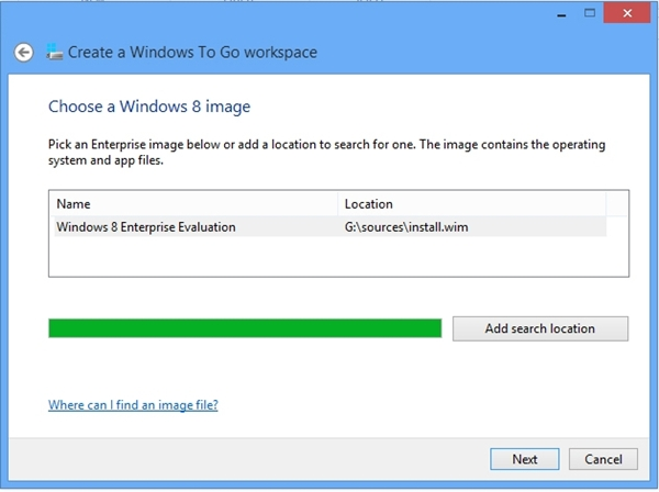 Select the image file named install.wim that is located in the 'source' folder of your Windows 8 installation disc. Click Next to proceed.