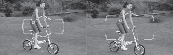 In these screengrabs from Nikon's instruction manuals, you can see how the D600's AF points (left) are more closely clustered in the center than the D800's (right).
