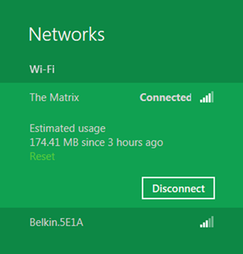 Windows 8 also actively keeps track of data usage in a concise manner. (Image Source: Microsoft)