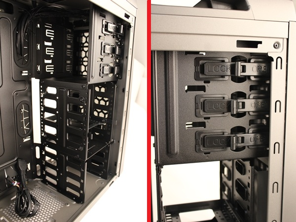 The drive bays of the CM Storm Scout 2; there are three 5.25-inch bays at the top and seven 3.5-inch drive bays after the larger drive bays.