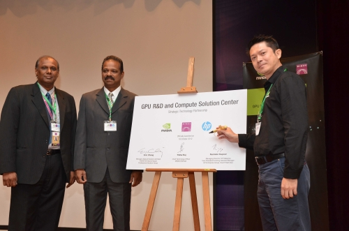 From L-R: Thillai Raj, Chief Technology Officer, MIMOS Berhad; Thiyagu Letchumanan, Country Manager, Commercial and Public Sector, HP Enterprise Group, Hewlett Packard Malaysia; and Eric Chang, Manager, Sales & Solution Architect, NVIDIA Southeast Asia & Taiwan, Professional Solutions Group, officiating the GPU R&D and Compute-Solution Center