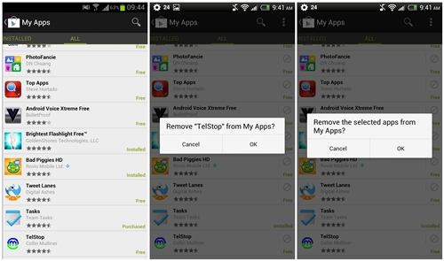 Notice the difference in the interfaces of the All Apps List between the old Google Play Store (left) and new version (center and right).