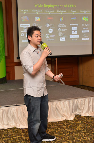 Jeff Yen, Senior Tech Marketing Manager, briefing us about the new HPC products from NVIDIA.