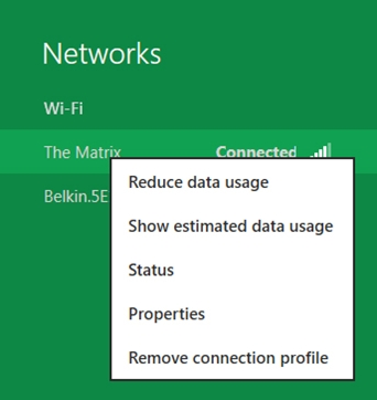 "Another level of user control is the option to mark any wireless network as metered or un-metered by selecting ""reduce data usage"" in the right-click (or tap and hold) menu for that network. (Image Source: Microsoft)"