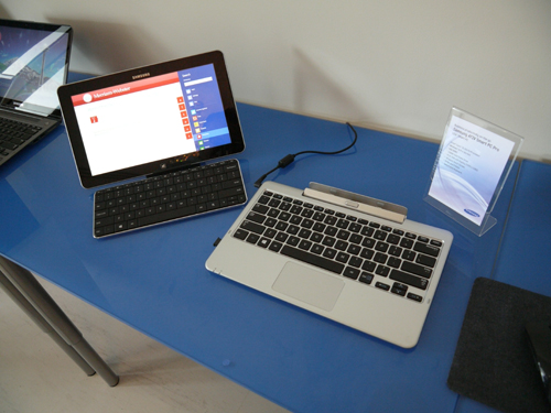 The ATIV tablets will come with docks as depicted in the image. However this is only a prototype unit. Actual units will come in black, rather than silver.