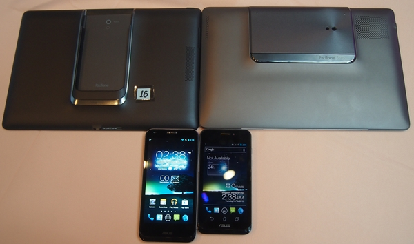 To maintain a sleeker and lighter design, the new PadFone 2 Station (left) carries a 5,000mAh battery pack in its chassis, which is lower than the 6,600mAh battery pack in its predecessor (right).
