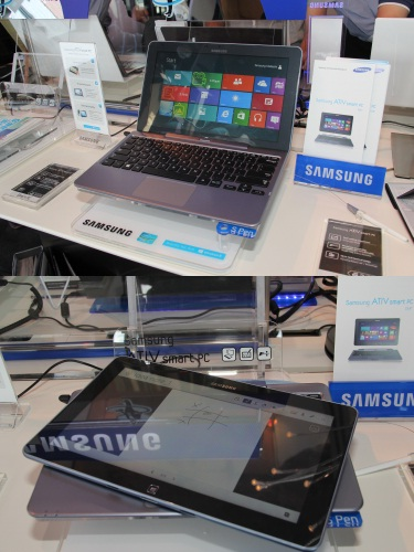The Samsung ATIV Smart PC is an 11.6-inch tablet and notebook hybrid that comes in two versions: the ATIV Smart PC Pro or ATIV Smart PC. The Pro variant comes with an Intel Core i5-3317U processor, while the latter comes with an Intel Atom Processor Z2760. Both will be available from November onwards and have a retail price of RM3,599 (Intel Core i5) and RM2,499 (Intel Atom)