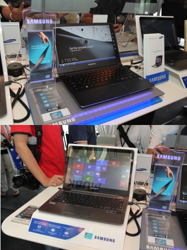 Samsung's super slim and sexy Notebook Series 5 and Series 9 have also been given the Windows 8 treatment. The Notebook Series 5 even sports a touch screen upgrade.