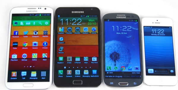 In terms of usability and handling aspects, a smaller phone such as the Apple iPhone 5 (far right) will definitely feel better than supersized phones such as the Galaxy Notes (first two from the left). It seems that the Samsung Galaxy S III (grey) strike the perfect balance between handling and optimal viewing experience.