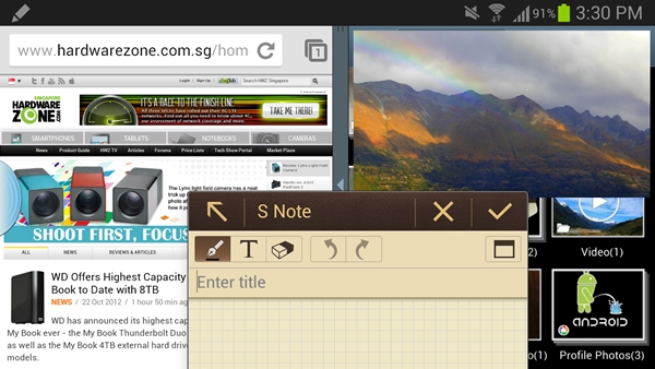 We tried to overwhelm the Samsung Galaxy Note II by running four apps at one go: multi-window for Chrome browser and the Gallery, Pop-up Video and Popup Note.