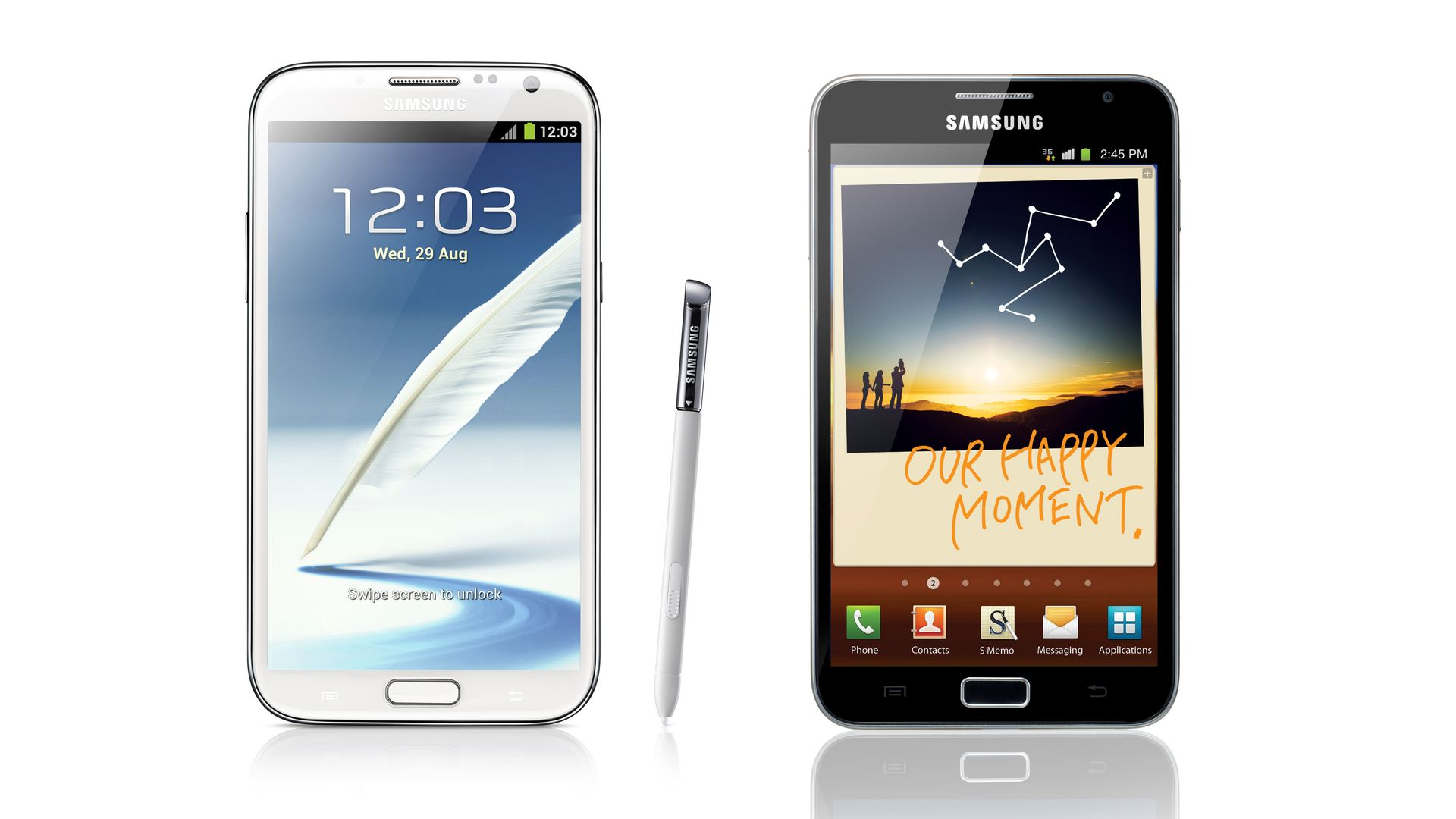 The Samsung Galaxy Note II and Galaxy Note I.