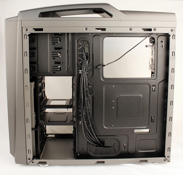 We can see the rectangular cut-out to easily handle custom CPU coolers from this side. The manual states that for any CPU cooler installed, its CPU 'fanstack' must not be taller than 162mm.