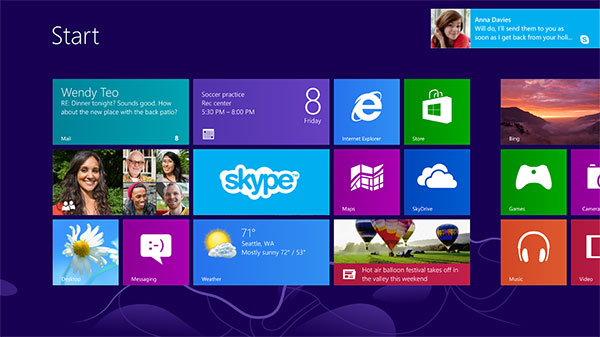 Skype notifications on the new Windows 8 Start screen. (Image source: Skype.)