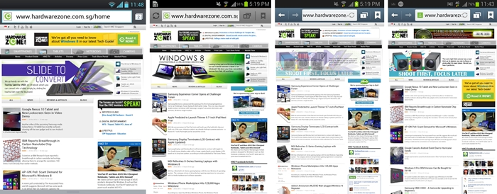Web browsing experience across multiple devices. From left to right: LG Optimus VU, Samsung Galaxy Note, Galaxy Note II LTE, Galaxy S III. Your preference will depend on your preferred usage and expectations of using the device. The Optimus Vu offers better readability (less chances of needing to zoom in), while the competitors let you see a larger portion of the page (but you'll need to zoom in to read the text).