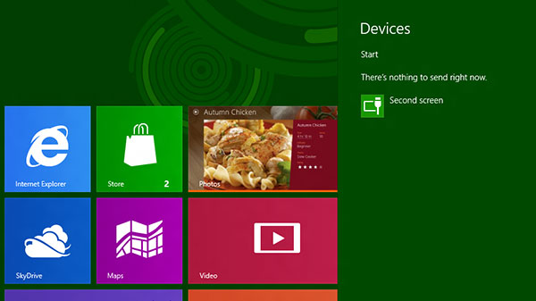 Quickly access peripherals connected to your Windows 8 device using the Devices Charm.