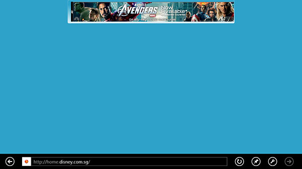 Oops! Looks like while the main Disney website is on the IE Compatibility View list, the Disney Singapore website isn't. This is what we got in Modern UI based IE10.