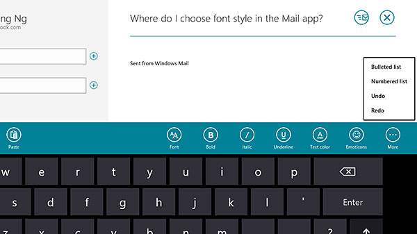 Accessing options like adding an attachment, adjusting the font style, and changing the text color isn't obvious initially. What you need to do is to swipe down from the top edge of the screen to reveal them.