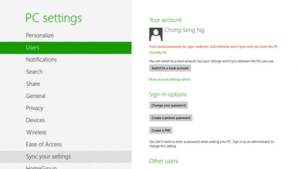 More sign-in options can be found under PC settings > Users > Sign-in options.