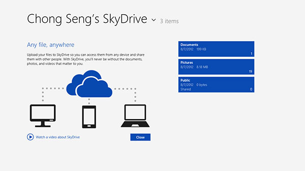 When you first run the SkyDrive app, you're given the option to watch a short promo video of the service. By default, you've three folders in your SkyDrive storage: Documents, Photos, and Public.