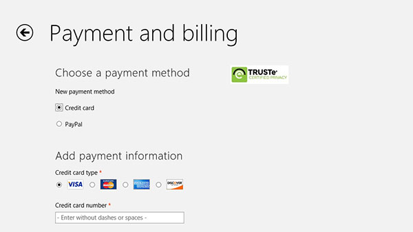 Major credit card types as well as PayPal are supported.