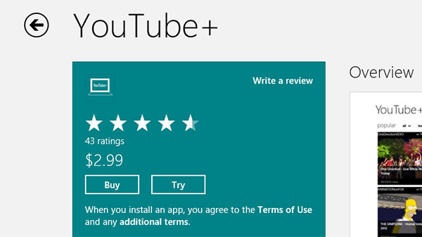 With Windows Store, many apps offer seven day trial periods, letting you try an app before buying it.