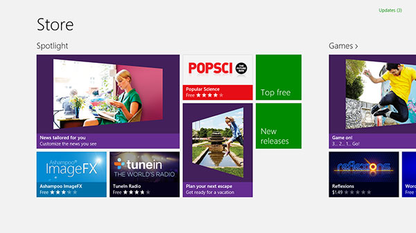 The Windows Store app uses a single, chromeless windows that takes up the whole screen.