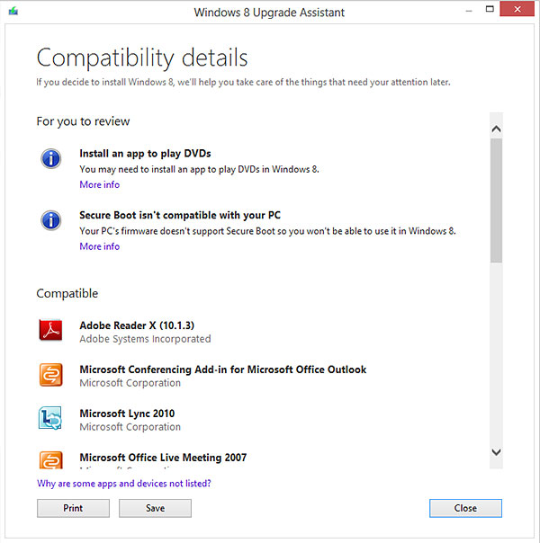 The Windows 8 Upgrade Assistant will perform app and device compatibility checks, and highlight any issue for you to rectify. (Image source: Microsoft.)