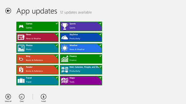 No surprises here - you can choose to install updates one by one, or everything at a go.