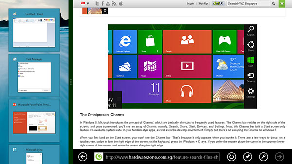 Snap multi-tasking works for the desktop 'app' too. When the desktop is in the smaller stripe, it will show thumbnails of the desktop apps that you've opened. That's because Windows 8 doesn't reflow the content of a desktop app like how it does for a Modern-style app. To switch to a desktop app, just tap or click on a thumbnail.