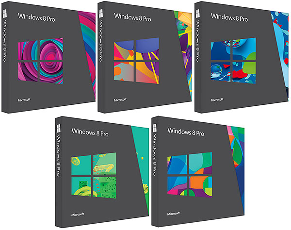Windows 8 Pro retail boxes will feature five different illustrations. (Image source: Microsoft.)