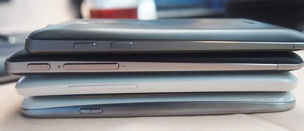 From top to bottom: ASUS PadFone (9.2mm), PadFone 2 (9mm), HTC One X (8.9mm) and Samsung Galaxy S III (8.6mm).