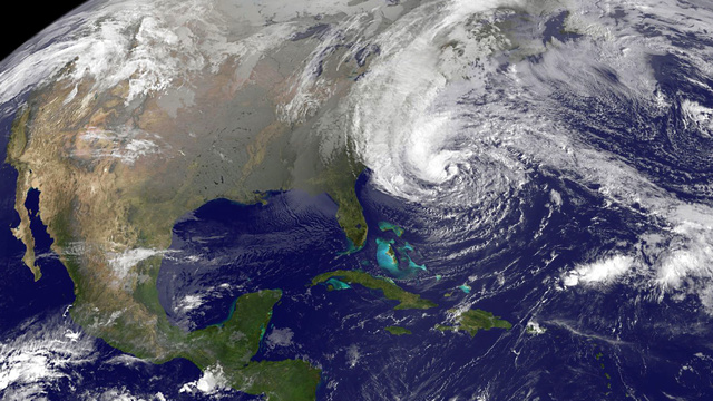 Close up of Hurricane Sandy approaching North America. <br> Image source: NASA