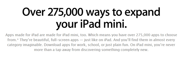 The overwhelming number of tablet-optimized apps in Apple App Store is one of the main reasons why competing tablets are unable to achieve the level of success that the iPads have. <br> Image source: Apple