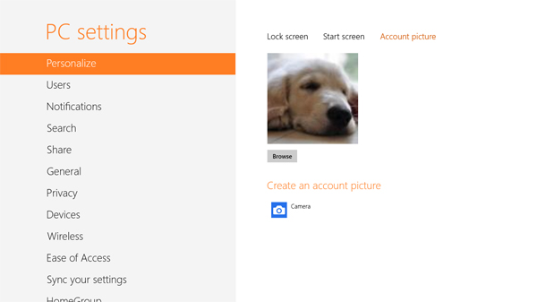 If you signed in with an existing Microsoft account, the account picture would be pulled automatically from the cloud. Of course, you can still choose to take a new photo, or use a photo that is on the PC.