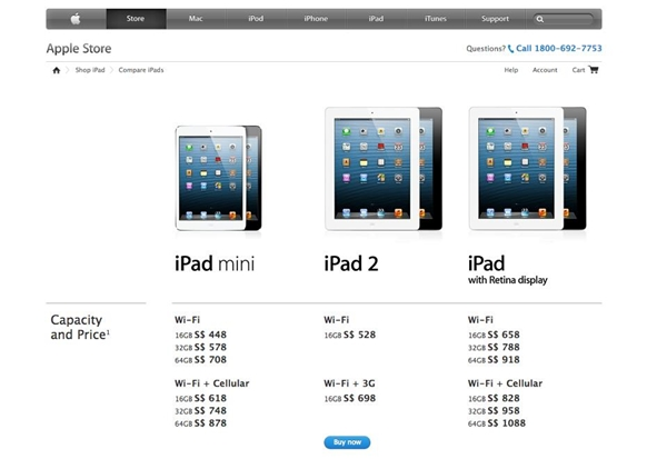 The Singapore Apple Store has just been updated with the prices of the new iPad with Retina display and iPad Mini.