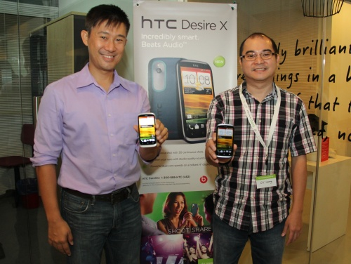 (From L-R) HTC's Head of Social Marketing, APAC - Shane Chiang and HTC's Country Manager, Malaysia - SK Wong with the newly unveiled HTC Desire X