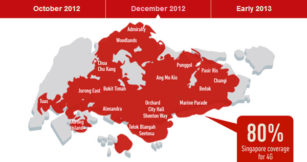 Map of Singtel's proposed 4G coverage by Dec 2012. Stay tuned to HardwareZone as we check on their network coverage and signal strength later this year.