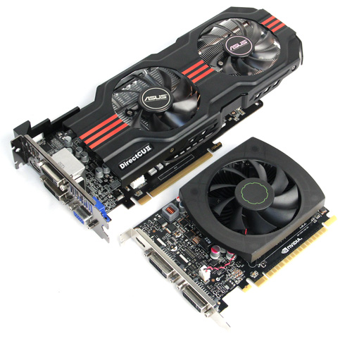 As you can see, ASUS's GTX 650 Ti is almost twice the size of NVIDIA's.