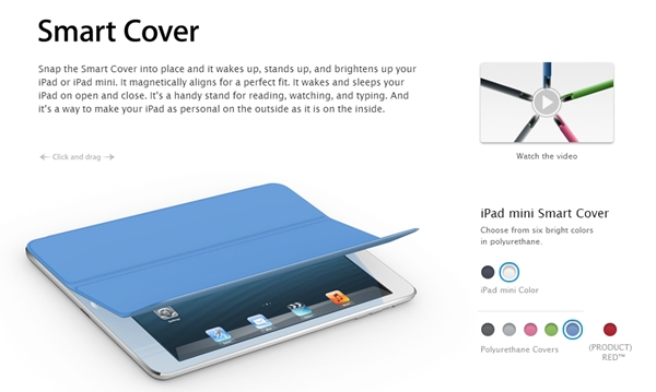 Smart Covers for the Apple iPad Mini. <br> Image source: Apple