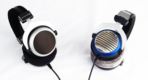 A side by side comparison of the Beyerdynamic T90 (left) and the Beyerdynamic DT990 (right).