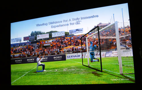 "Sony recommends an optimal viewing distance of 1.6 meters in order to enjoy a ""truly immersive entertainment experience"" on the 84-inch screen."