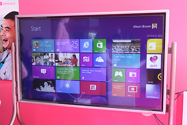 We've used Windows 8 on a variety of devices, but never on a 70-inch screen - until now. This is a Sharp PN-L702B interactive display, which was connected to a Lenovo laptop via HDMI.