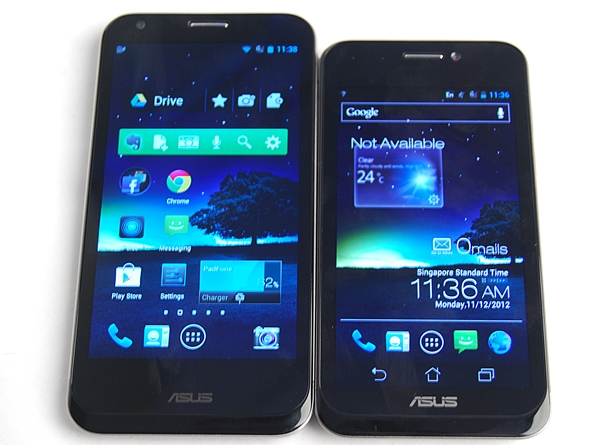 The ASUS PadFone 2 (left) and the PadFone (right).