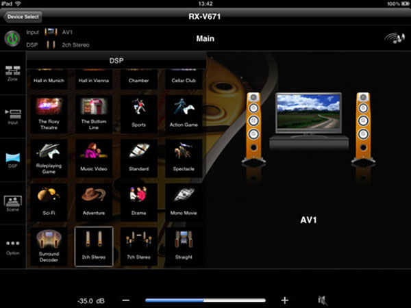 You can use the Yamaha AV Controller app to power up the receiver, control the volume, select inputs, change DSP modes, and more. The app is available for free on the Apple App Store and Google Play store.