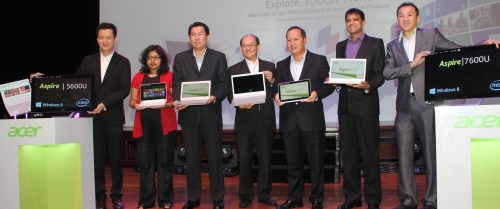 From L-R: Jerry Soon, Head of Consumer Desktop & Peripherals, Acer Sales & Services; Amrita Sapre, Windows Product Group Manager, Microsoft (Malaysia) Sdn Bhd; Sunny Ooi, Director Channels Group Director, Microsoft Malaysia; David Lee, Associate Vice President of Mobile Computing BU, Acer Inc; Ricky Tan, General Manager of Acer Sales & Services Sdn Bhd; Prakash Mallya, Country Manager of Intel Electronics (M) Sdn Bhd; and Johson Seet, Head of Mobile Notebook & Smart Handheld of Acer Sales & Services Sdn Bhd posing with the new Acer Windows 8 devices