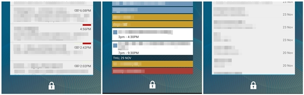 Personal information across the Gmail, Calendar and Message widgets are still visible to others even with a screen lock mechanism in place.