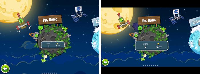Angry Birds: Pre-aspect ratio correction VS post-aspect ratio correction